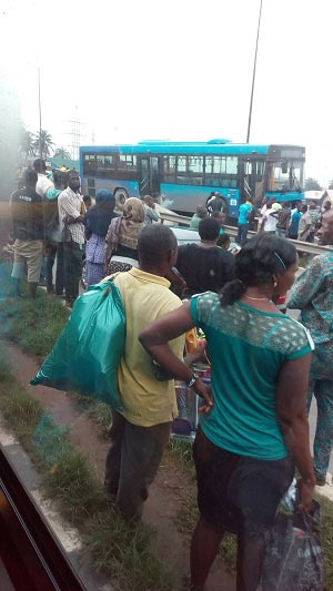 Photos: BRT bus involved in accident along Ikorodu Road, Lagos