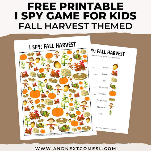 Free I spy game printable for kids: fall harvest & Thanksgiving themed