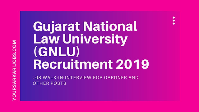 Gujarat National Law University (GNLU) Recruitment 2019