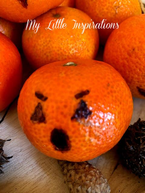 Centrotavola per Halloween con Mandarini - faccina 4 spaventata - MLI