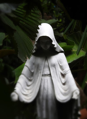 A white statue of a hooded woman, her face in shadows, against a background of large green leaves.