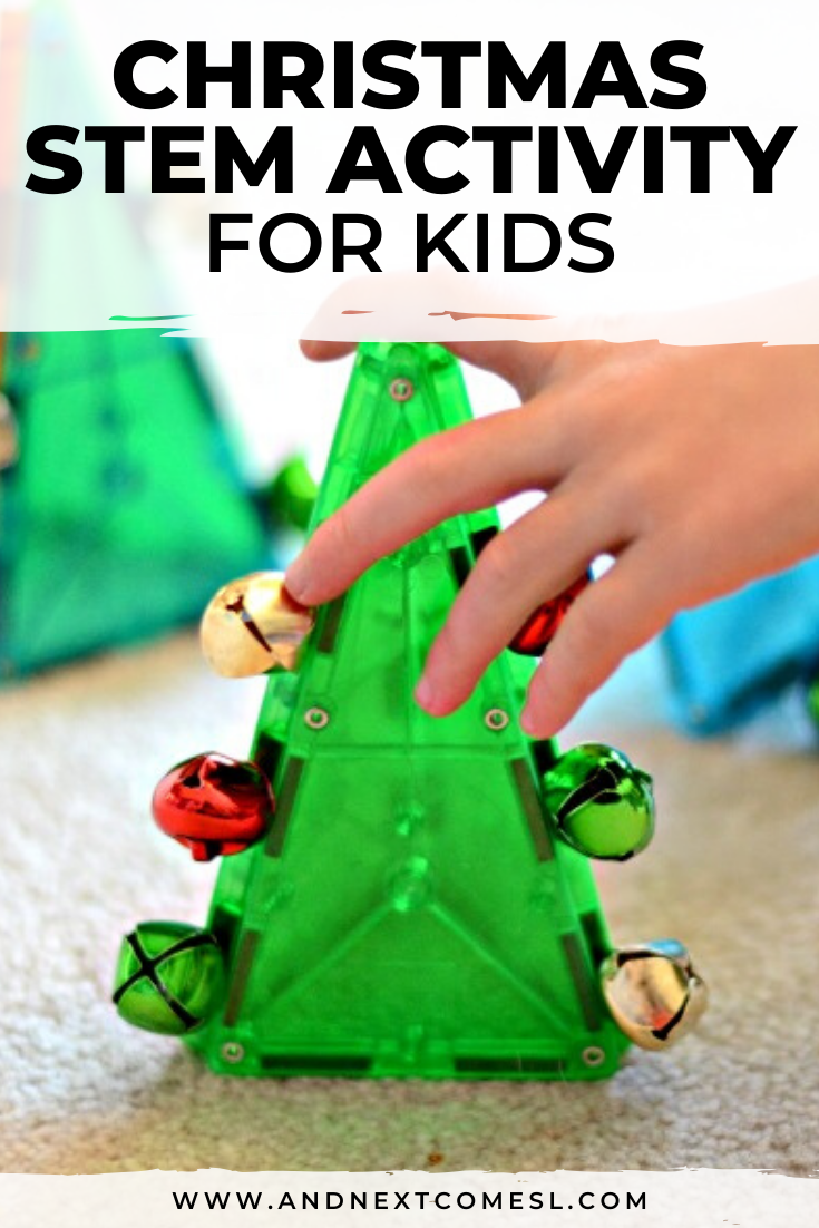 Looking for Christmas activities for kids? Try this Christmas STEM activity for preschoolers that uses magnetic tiles and jingle bells