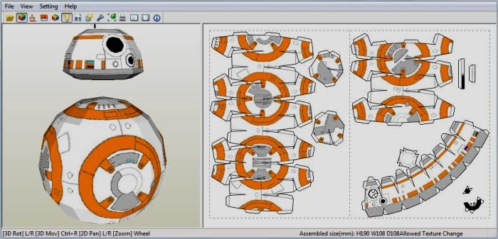 papermau wars bb 8 astromech droid paper model by nathan