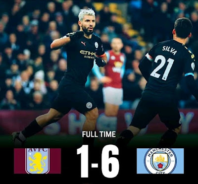 Aston Villa 1-6 Man City, Aguero Hits Hattrick As City Spank Villa Ruthlessly (Details, Photos & Highlight)