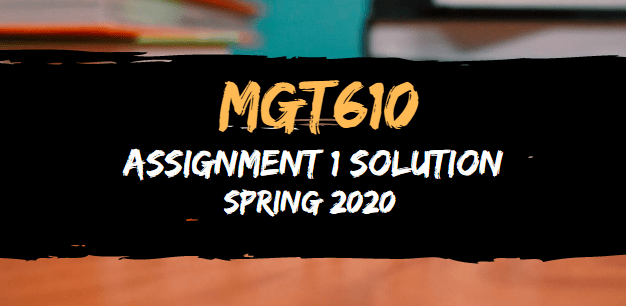 MGT610 Assignment 1 Solution Spring 2020
