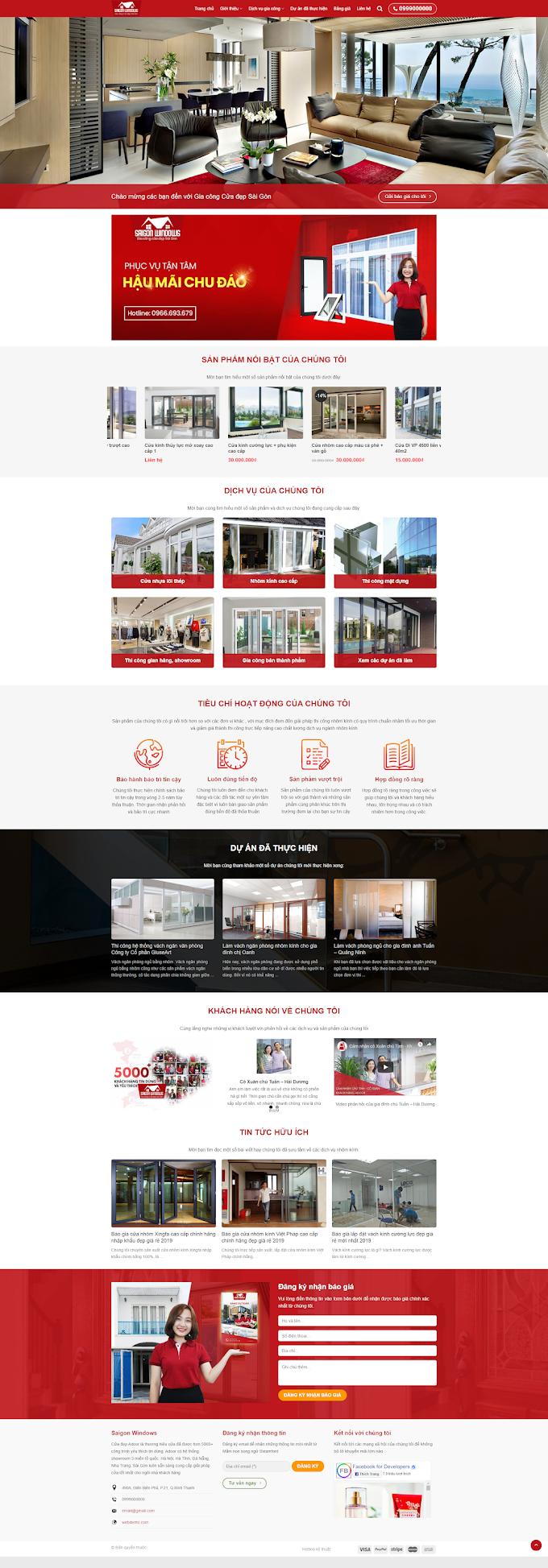 Mẫu website Nhôm Kính - cơ khí