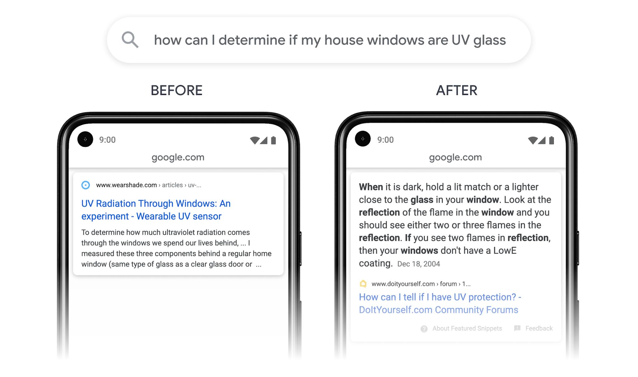 Screenshot der Google Suche im Vergleich, um das veränderte Design zu zeigen