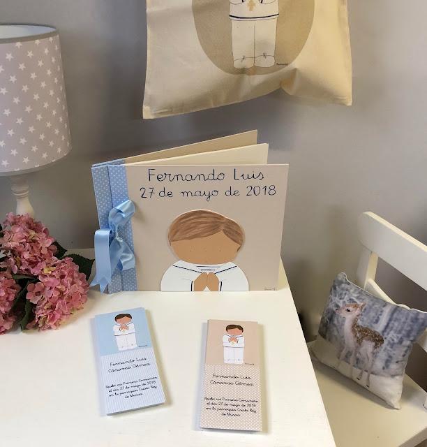 libro de firmas, recordatorios y bolsa de Primera Comunión personalizado para niño