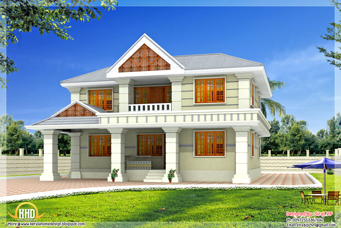 Awesome 5 bedroom villa 2630 kerala home design for Villa style house plans