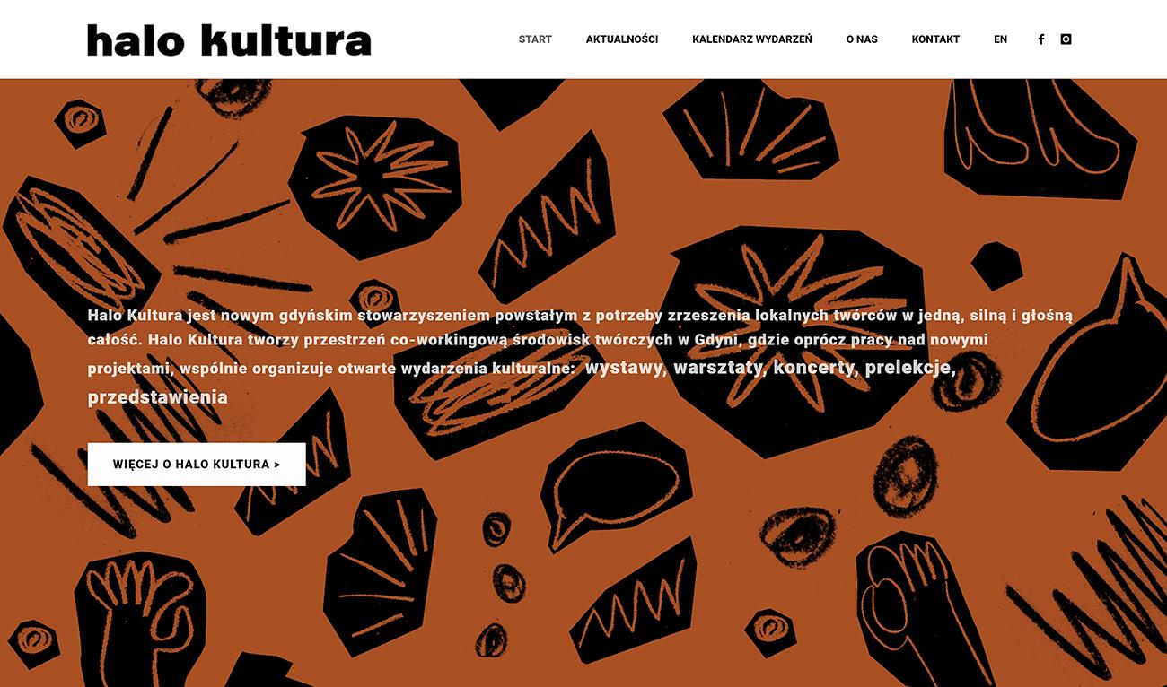 Projekt strony internetowej dla stowarzyszenia artystów HALO KULTURA