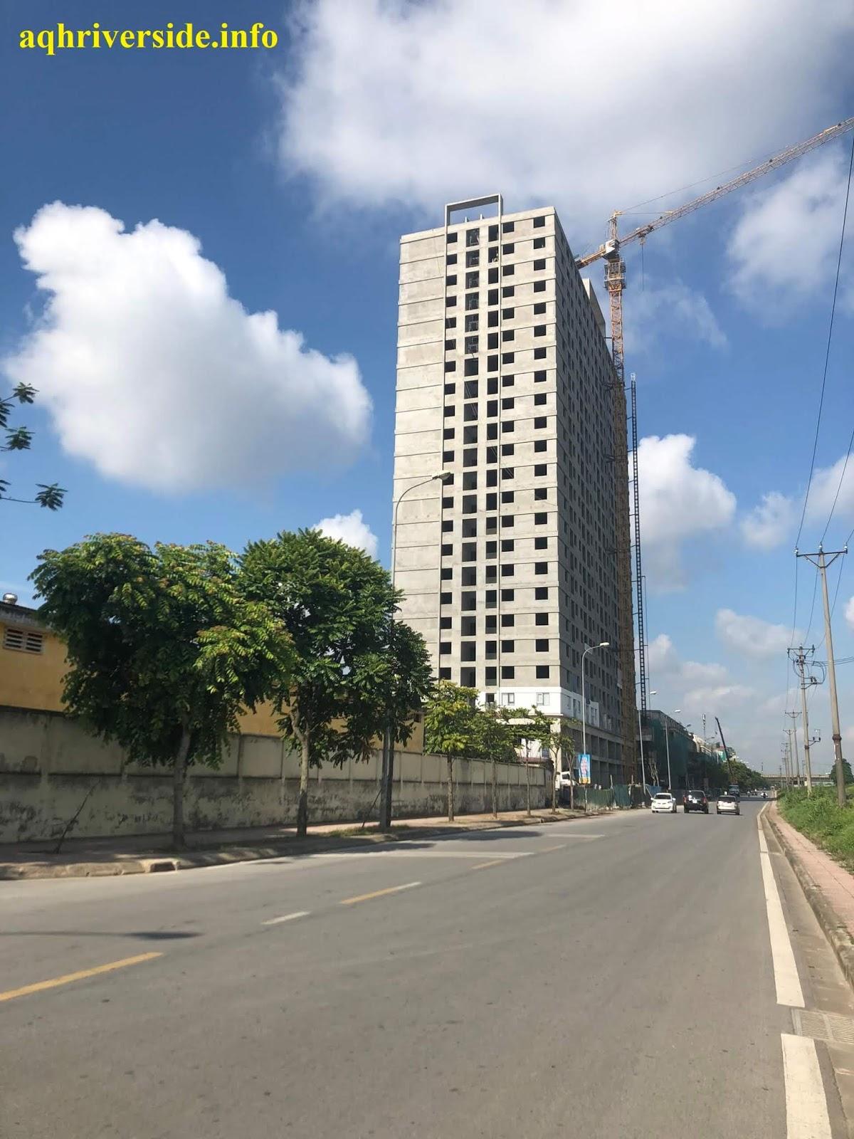 Cận cảnh hơn có thể thấy công trình AQH Riverside đã hoàn thiện xong thô rất đẹp.