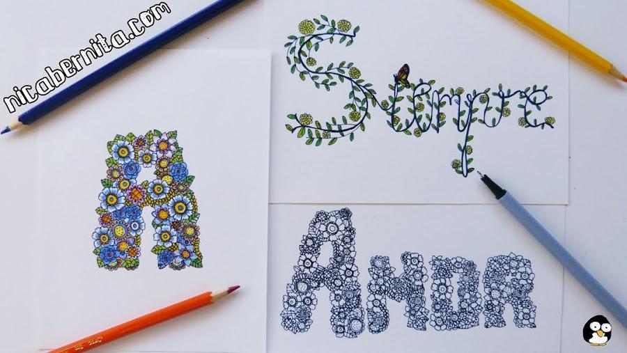 cómo hacer títulos y letras decoradas con flores. Títulos para cuadernos, libretas y agendas (nica bernita)