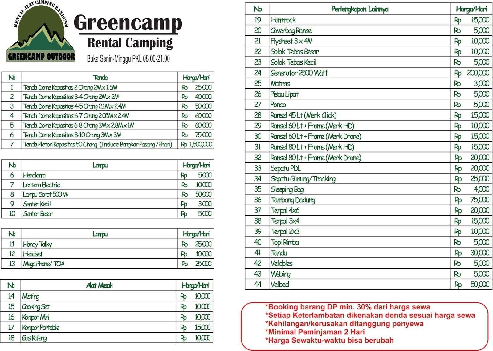 Greencamp Sewa Alat Camping Bandung Daftar Harga Greencamp