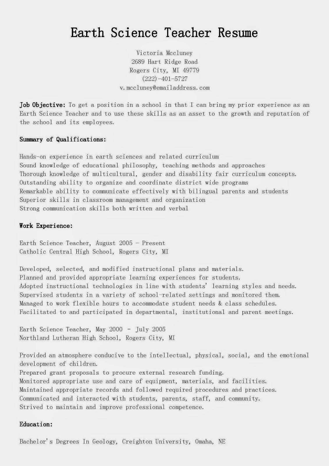 resume samples  earth science teacher resume sample