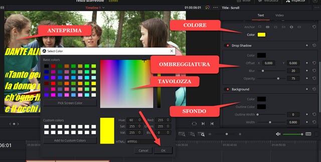 scegliere colore sfondo ombreggiatura del testo