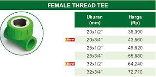 Harga Female Tread Tee Pipa Ppr Rucika Kelen Green