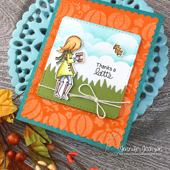2019 National Coffee Day Blog Hop | Fall coffee cards by Jennifer Jackson | Pumpkin Latte Stamp Set and Pumpkin Patch Stencil by Newton's Nook Designs #newtonsnook #handmade
