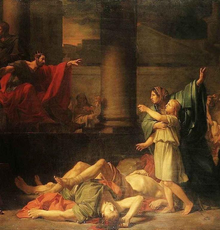 O martirio dos sete irmãos Macabeus, por ordem de Antíoco Epifanio em 166 aC. Os sete e sua heroica mãe que os exortou a morrer sem renegar a Fé, são lembrados como santos pela Igreja Católica.