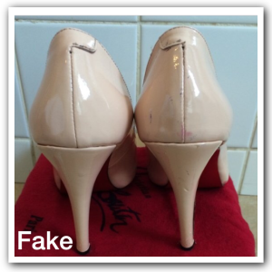 8cb32a64a3a0 Authentic Louboutin shoes should have perfect and consistent stitching. As  you can see on the pictures of the fake the stitches are to wide and sloppy.