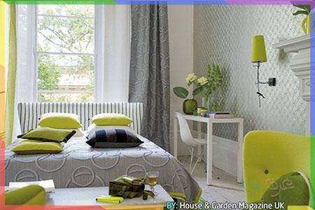 غرفة نوم انيقة باللون التفاحي والرمادي