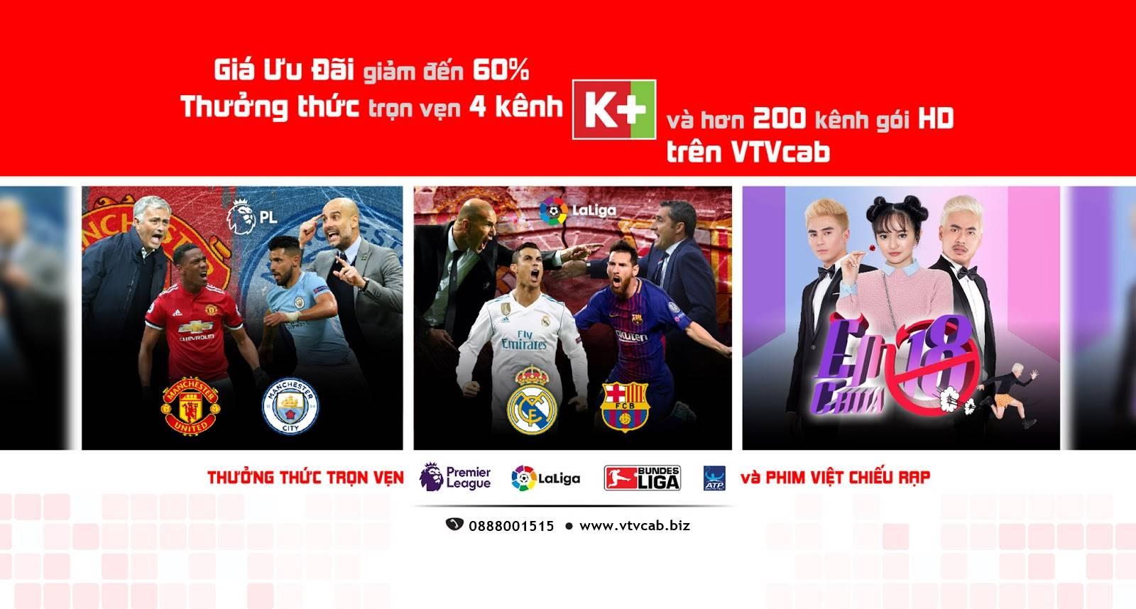 Nhóm kênh Truyền hình K+ trên VTVCab giá rẻ