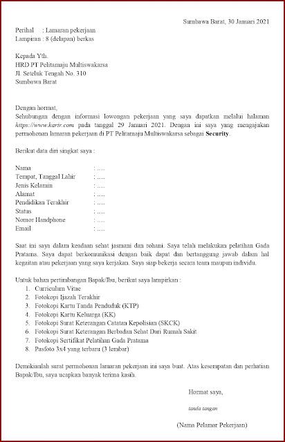 Contoh Application Letter Untuk Security (Fresh Graduate) Berdasarkan Informasi Dari Website