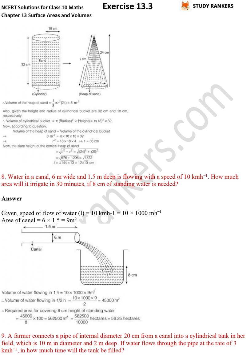 NCERT Solutions for Class 10 Maths Chapter 13 Surface Areas and Volumes Exercise 13.3 Part 6