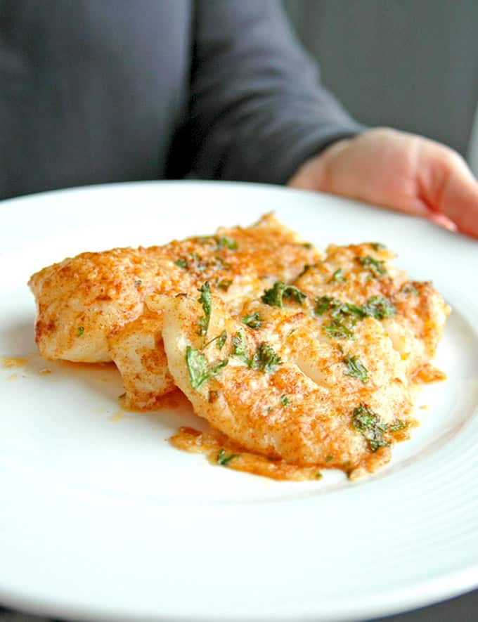 BAKED COD WITH PARMESAN AND GARLIC BUTTER