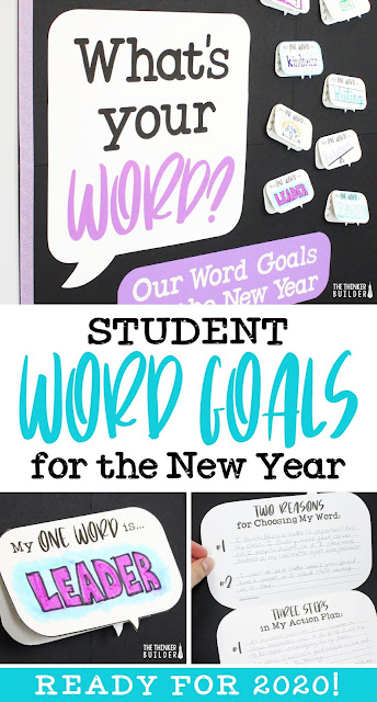 Get students setting focused, one-word goals for the new year! Like a New Year's resolution, but more powerful, simple, and with a cooler bulletin board. (The Thinker Builder)