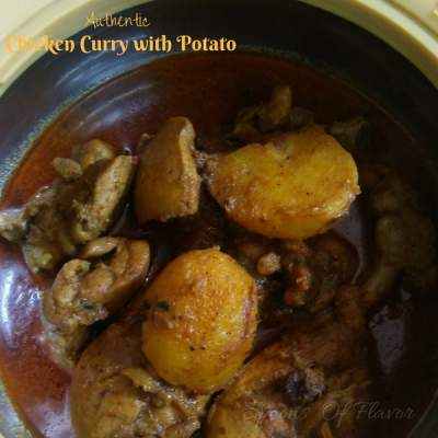 Authentic chicken curry with potato