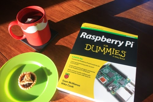 cup of tea in santa mug, mince pie and Raspberry Pi For Dummies