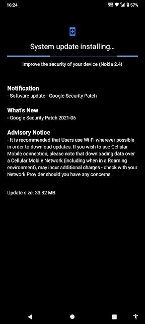 Nokia 2.4 receiving June 2021 Android Security update