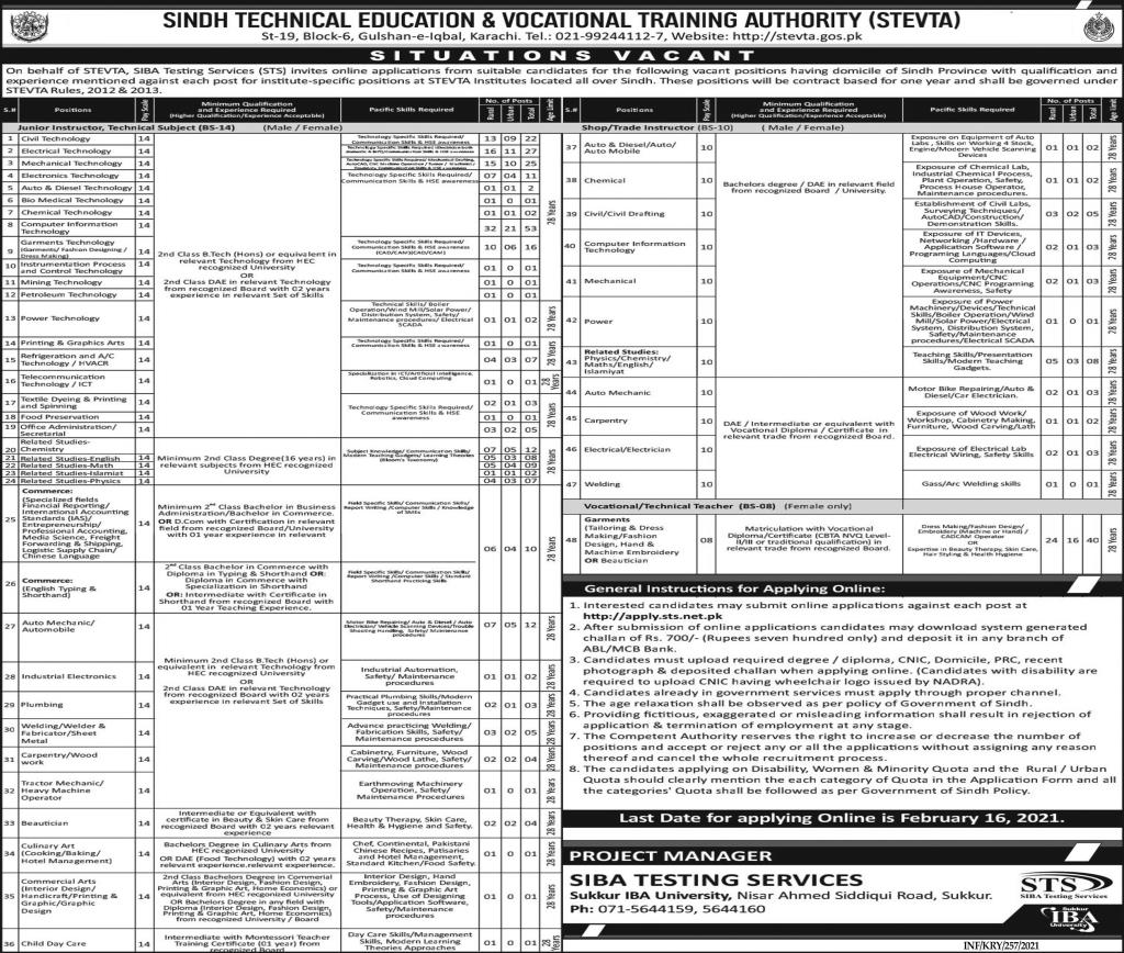 Sindh Technical Education And Vocational Training Authority Jobs 2021 - STEVTA Jobs 2021 - Sumit Online Application - apply.sts.net.pk