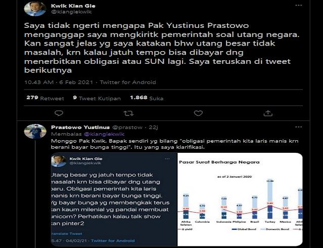 Inilah Adu Argumen Kwik Kian Gie dan Yustinus Prastowo di Twitter Soal Bunga Utang Pemerintah