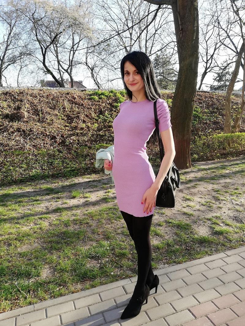 Bershka liliowa sukienka