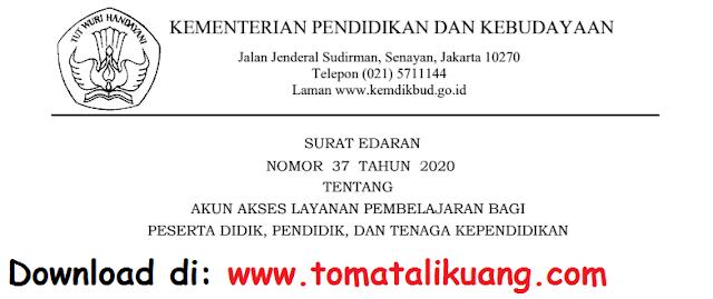 Surat Edaran Sesjen Sekjen Kemendikbud Nomor 27 Tahun 2020 Tentang Akun Akses Layanan Pembelajaran PDF tomatalikuang.com