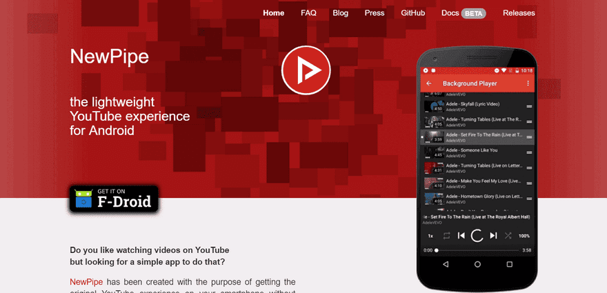 NewPipe無廣告YouTube播放器可下載影片