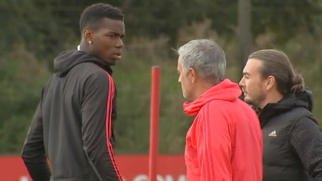 Photo Of Paul Pogba and Jose Mourinho in a training ground Bustup