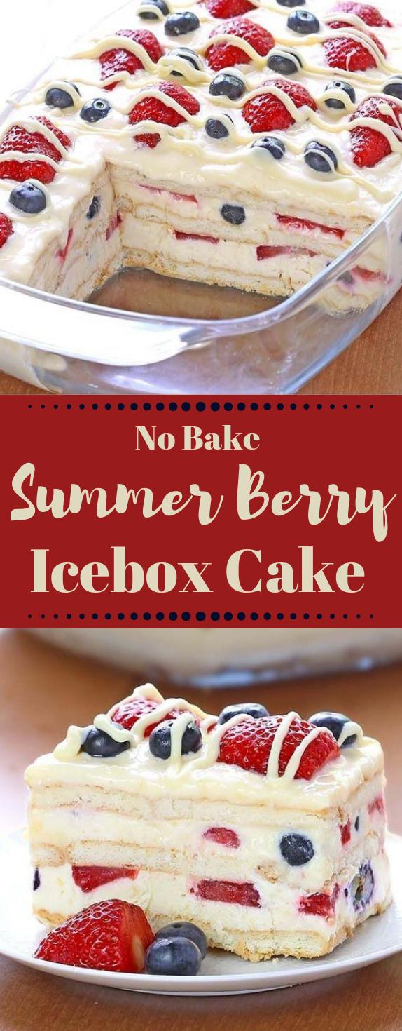 No Bake Summer Berry Icebox Cake #summer #bake #dessert #cake #pie
