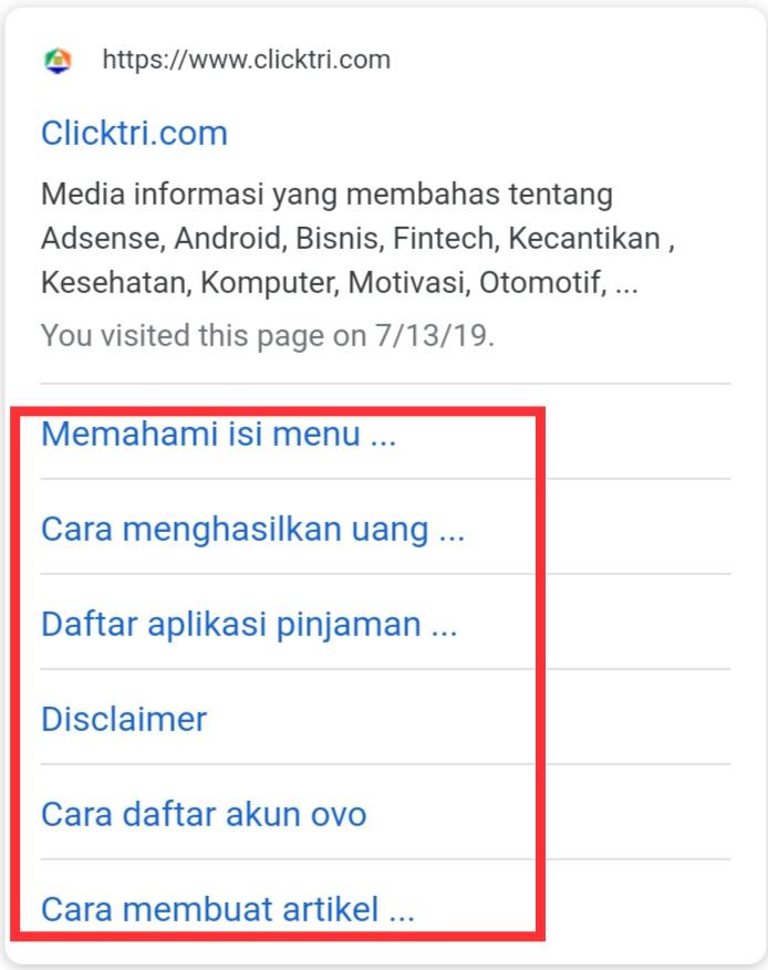 Cara cepat dan mudah mendapatkan sitelink