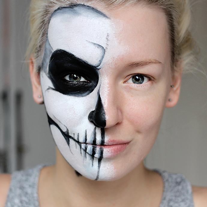 Halloween Makeup Tutorial Skeleton Half Face Easy Cartooncreative