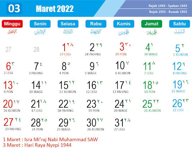 Kalender Maret 2022 - Kanalmu