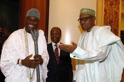 Oba Adeyeye Ogunwusi the Ooni of Ife Pay a courtesy visit to President bUHARI