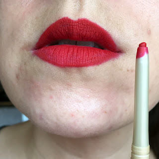 Mally Warm Red Lip Pencil Swatch || Crappy Candle