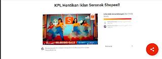 Petisikan KPI Agar Hentikan Iklan Tak Seronok Shopee