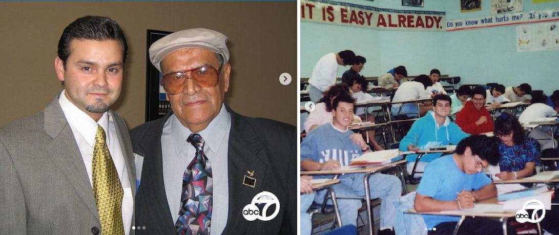 Valdez junto al docente boliviano y una foto de la clase 1991 de la preparatoria Gardfield / INSTAGRAM