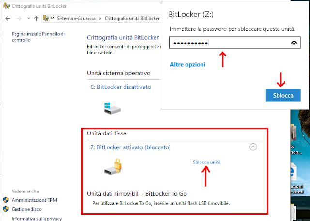 Crittografia unità BitLocker sbloccare e accedere con password a volume crittografato