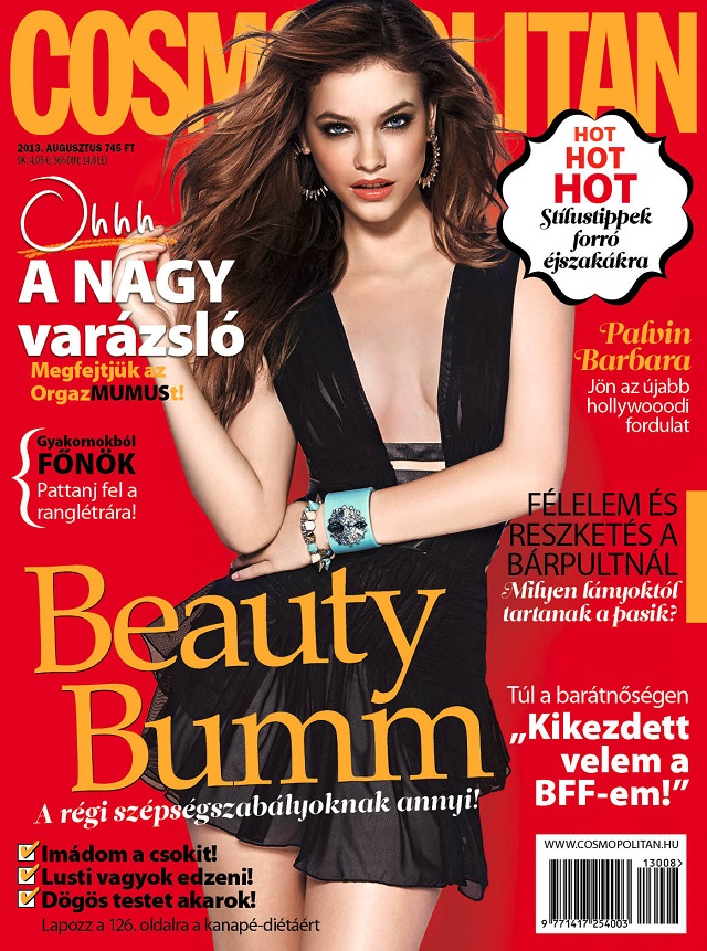 Barbara Palvin features on the cover of Cosmopolitan Hungary August 2013