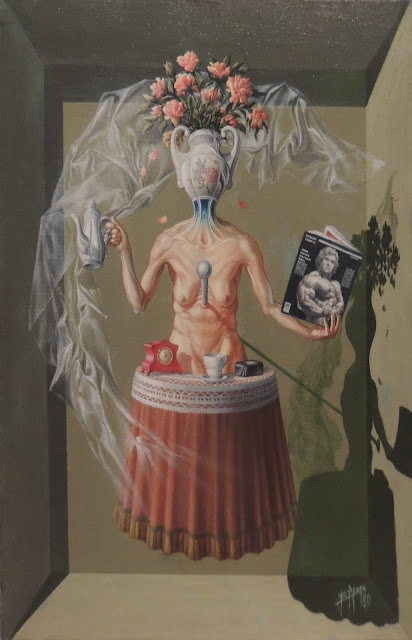 Enrique Nieto arte surrealista mujer desnudo Arnold Schwarzenegger culturismo