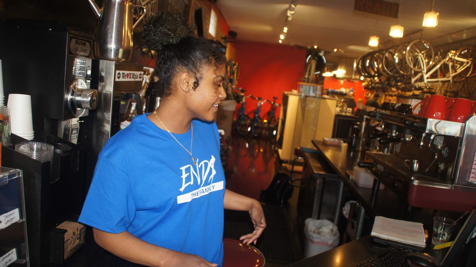 ENDS Photo Featuring END$ The Family Scripture Tshirt    Model Jennifer DeCoteau at Venture Note